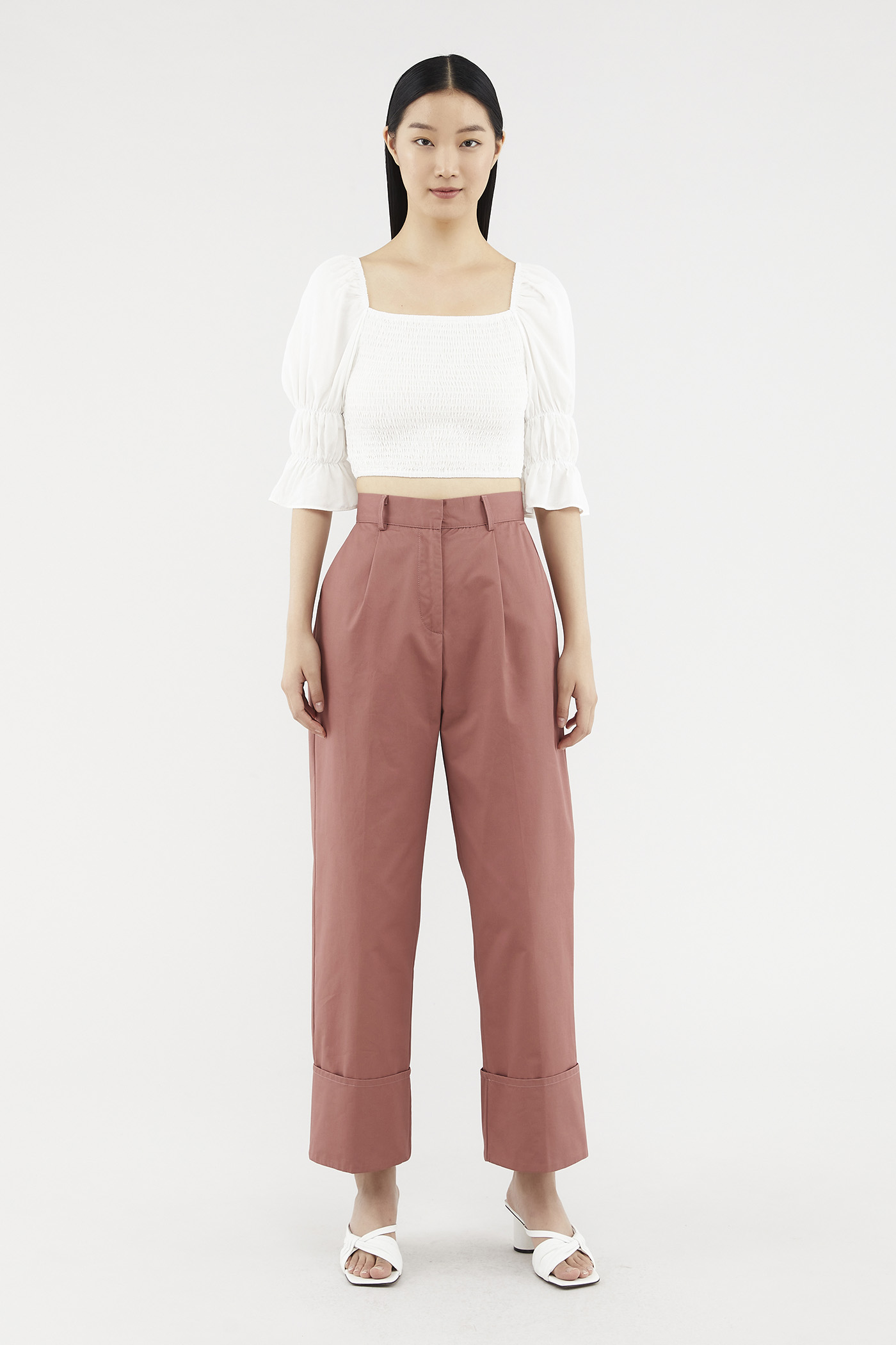 Noemy Folded-hem Pants