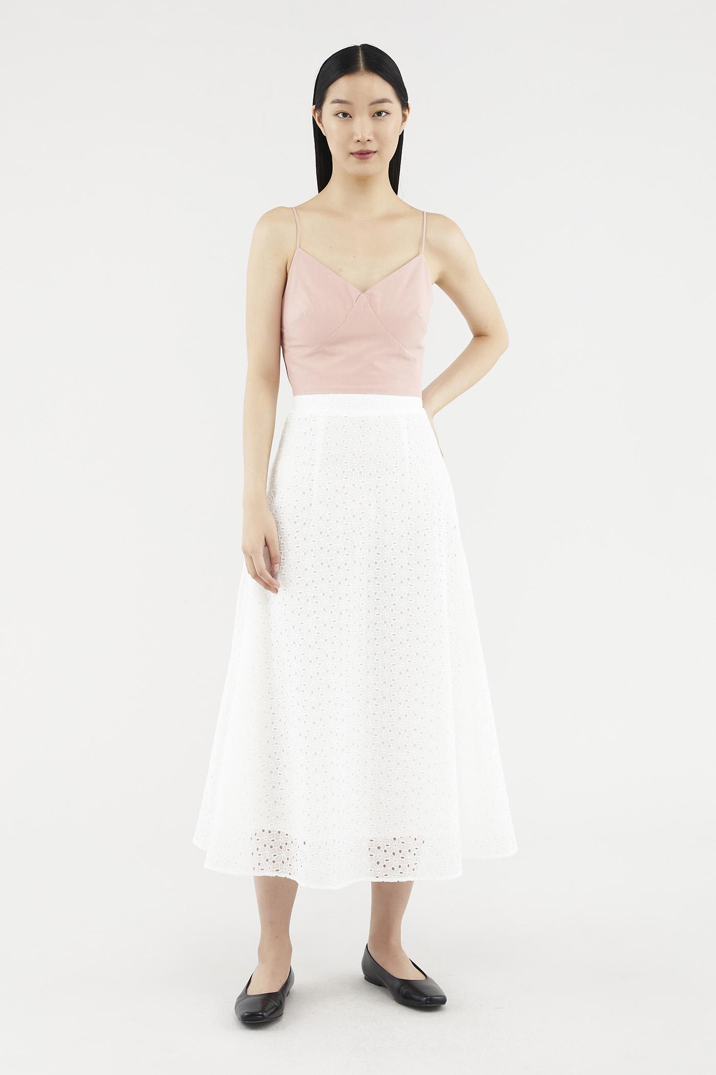 Jailyn Broderie Anglaise Midi Skirt