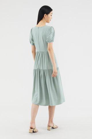 Kathleen Puff-sleeve Tiered Dress